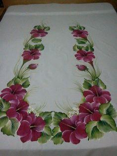 Fabric Paint Designs, Stencil Designs, Saree Painting, Fabric Painting, Bed Sheet Painting Design, Clothing Store Displays, Rose Sketch, Decoupage Paper, Decoration Table