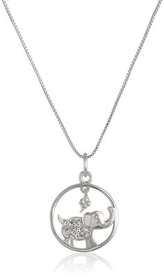 Sterling Silver Circle with Crystal Elephant 'Lucky' Pendant Necklace, 18' -- Continue to the product at the image link. (This is an Amazon Affiliate link and I receive a commission for the sales)