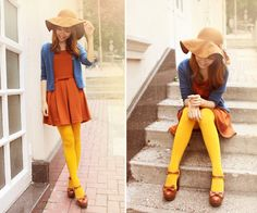 so keen on the mustard tights! Perf with a dress and ankle boots