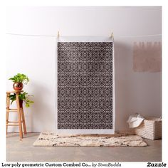 Low poly geometric Custom Combed Cotton Fabric