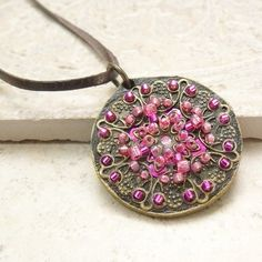 Medallion Leather and Filigree Necklace in Magenta ❤ by Viridian