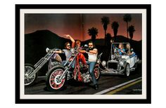"DAVID MANN Biker & Coupe Roadster Art ""Harley Dangerous"""