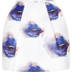 MSGM Printed Duchesse Satin Mini Skirt ($415) ❤ liked on Polyvore featuring skirts, mini skirts, bottoms, saia, multi blue, blue mini skirt, fold-over maxi skirt, summer skirts, high waisted skirts and high waisted flared skirts