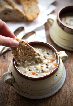 A cozy weekend recipe - crockpot chicken wild rice soup.
