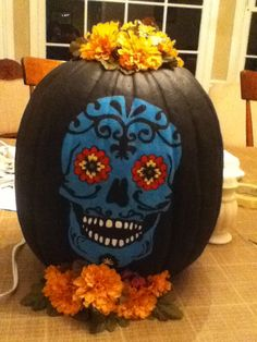 dia de los muertosday of the dead skull pumpkin - Day Of The Dead Halloween Decorations