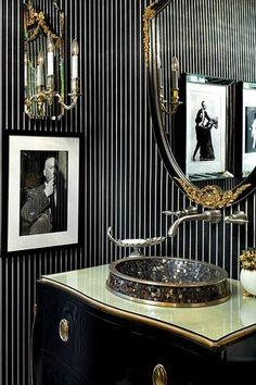 Art Deco Powder Room with limestone tile floors, Wall sconce, Wall-mounted faucet, Gold leaf ceiling, Vessel sink