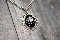 """""""Chalk"""" Embroidery Snowflake Necklace"""