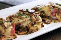 Prosciutto & Fontina Chicken w/Lemon Mushroom Sauce (Looks like Carrabba's  Pollo Rosa Maria)