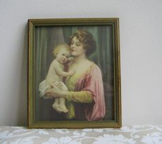 """Vintage Mother Baby Child Portrait Wall Art Litho Print """"A Little Ray of Sunshine"""" in Beveled Wood Frame By Gerlach Barklow Co. USA"""