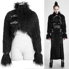 Women Black Steam Punk Rock Gothic Fashion Furry Crop Coats SKU-11401488