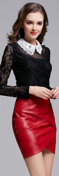 Red Leather Asymmetrical Skirt♡♡♡♡♡