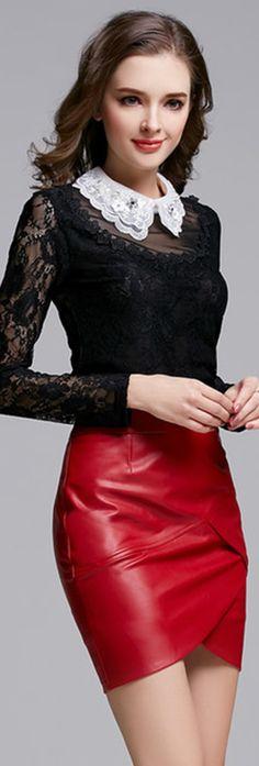 Red Leather Asymmetrical Skirt