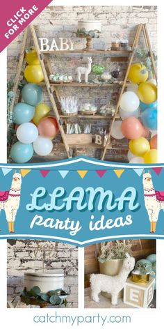 Dont miss this adorable llama baby shower! The balloon decorations are fabulous!  See more party ideas and share yours at CatchMyParty.com #catchmyparty #partyideas #llamas #llamaparty #llamababyshower #babyshower