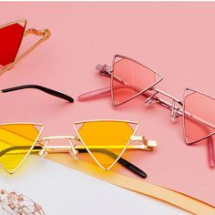 Vintage Punk Triangle Sunglasses - Women's style: Patterns of sustainability Cute Sunglasses, Trending Sunglasses, Cat Eye Sunglasses, Mirrored Sunglasses, Sunglasses Women, Vintage Sunglasses, Sunnies, Illesteva Sunglasses, Burberry Sunglasses