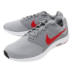 38e659c205b91 NIKE Mens Downshifter 7 Wolf Grey Red Stealth Black Size 10.5