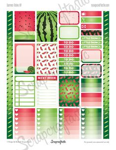 Summer Melon Printable Planner Stickers for the by Scrapcraftastic