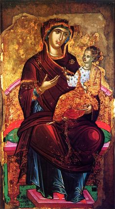 "Virgin Mary ""Hodegetria"". Circa 1543. Attributed to Theophanes the Cretan (Theophanes Strelitzas aka Bathas) or his workshop. Gregoriou monastery, Mt Athos, Greece."