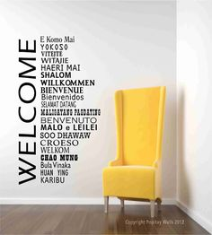Welcome Wall Decal words in international languages Home Office and School Wall Decor, World Global Greetings