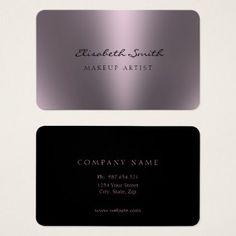 Violet Metallic Look Double Sided Business Card - hair stylist gifts business cyo diy custom create