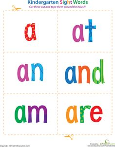 "Kindergarten Sight Words - print & laminate. An activity to do would be to get clothespins write one letter on each clothespin (some letters you will need more than 1 of - such as 2 e's for ""here"" or ""please""), and then match the clothespins to the letters of each sight word, and then say the sight word"