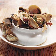 Manila Clams with Hot Soppressata and Sweet Vermouth Recipe - Tommy Habetz Clam Recipes, Wine Recipes, Seafood Recipes, Cooking Recipes, Radish Recipes, Seafood Meals, Gnocchi Recipes, Fish Dishes, Seafood Dishes