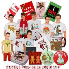#Funny #Christmas t-shirts, ornaments, bags, cards, mugs & more at Zazzle.com/HaHaHolidays* :)