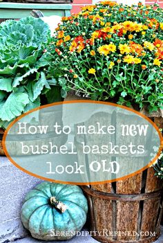 Today I'm going to show you a fast, easy way to age new bushel baskets (and any other light colored basket made from natural materials)...