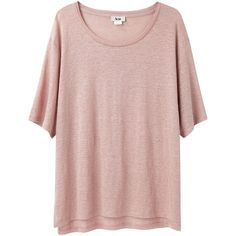 Acne Wonder Linen Tee (£46) ❤ liked on Polyvore featuring tops, t-shirts, shirts, tees, pink t shirt, linen shirt, short-sleeve shirt, half sleeve t shirts and pink short sleeve shirt
