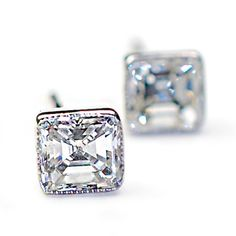 Diamond Earrings, Asscher Cut Diamond Earrings, Asscher Diamond Studs, Diamond and White Gold Milgrain Earrings, Vintage Style, Nixin on Etsy, $4,500.00