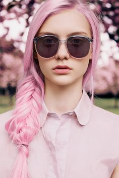 Pink hair - hair like this needs to be lightened first and then dyed with a semi-permanent color to achieve the bright pink result...