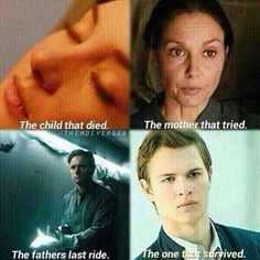Tris:The one who sacrifice  for her brother Natalie: the mom that give her life for her daughter Andrew:the father that give the first step to the enemy  Caleb:The Only Prior That Still Alive