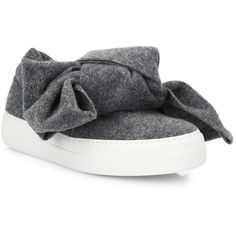 Joshua Sanders Bow Slip-On Sneakers (1,435 SAR) ❤ liked on Polyvore featuring shoes, sneakers, apparel & accessories, charcoal, slip on shoes, joshua's shoes, charcoal shoes, fleece-lined shoes and bow shoes