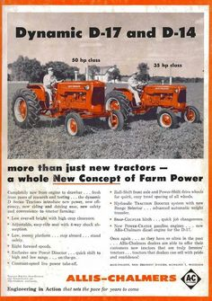 Typical full page black and white print with orange highlight Antique Tractors, Vintage Tractors, Old Tractors, Vintage Farm, Orange Highlights, Allis Chalmers Tractors, New Tractor, Tractor Attachments, Farm Pictures