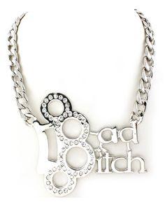 BAD BITCH Brass Knuckles Necklace! www.shopftgs.com