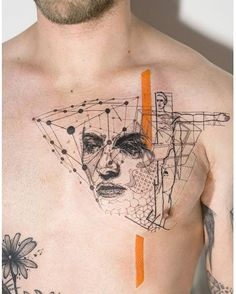 'Of Precious Things' by Mowgli  #mowgli #mowgliartist #tattoo #throughmythirdeye #love #life #chesttattoo #portrait #graphical #graphicaltattoo #geometric #geometrictattoo #orange #pattern #lines #cubes #patchwork #graphic #london #tattrx #tattoos #art #avantgarde #hexagon #dotwork