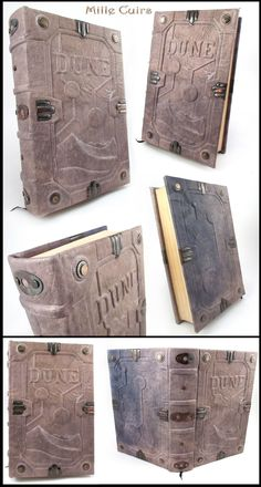 This book is really special for me, truly a one of a kind piece of art. It is actually a re-binding of a damaged and well worn original edition. Dune - The book of Arrakis Dune Series, Dune Frank Herbert, Dune Art, Science Fiction Art, Handmade Journals, Bookbinding, The Book, Good Books, Dune