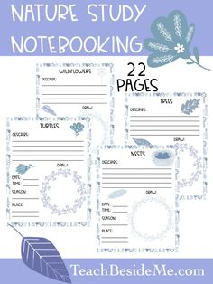 Do you love to do nature study with your kids? Come grab this beautiful Nature Study notebooking printable set to use today! Study Journal, Nature Journal, Journal Ideas, Trees Draw, How To Start Homeschooling, Forest School, Nature Study, Creative Teaching, Field Guide