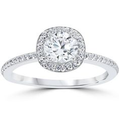 1ct Diamond Engagement Ring Cushion Halo Vintage Solitaire 14K White Gold #jewelry