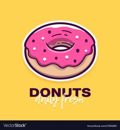 Donut with pink icing and text logo design vector image on VectorStock Donut Logo, Donut Vector, Pink Icing, Cartoon Logo, Cake Logo, Little Bit, Instagram Highlight Icons, Logo Nasa, Logo Design Inspiration