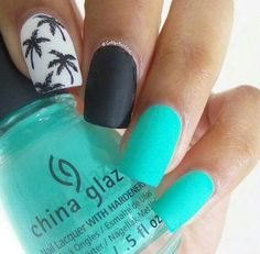 Palm trees, matte black and turquoise
