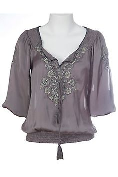 Flying Tomato® Ladies Silky Grey Embroidered with Tie Fashion Top
