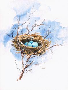 20 Best Ideas For Bird Nest Tattoo Watercolor Print Watercolor And Ink, Watercolor Paintings, Watercolors, Watercolor Tattoo, Decoupage, Bird Drawings, Tattoo Drawings, Tattoos, Bird Artwork