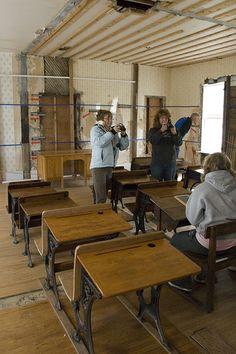 Inside the schoolhouse at Laura Ingalls Wilder historical site, De Smet, Minnesota
