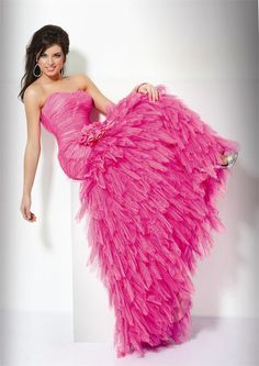 Hot Pink Wedding Bridesmaid Dress- Long, Floor Length, Strapless, Sweetheart Cut