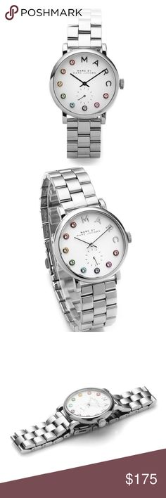 Marc by Marc Jacobs rainbow dexter silver watch Authentic. Brand new with $225 tags. Beautiful stainless steel silver with multiple colors featured on the watch face. Comes in original watch box, with pillow, with price tag and with the authenticity/warranty booklet. This would be beautiful stacked with some colorful complimenting bracelets! Marc by Marc Jacobs rainbow dexter silver watch. Marc By Marc Jacobs Accessories Watches