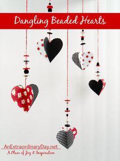 Easy DIY Dangling Beaded Hearts :: AnExtraordinaryDay.net