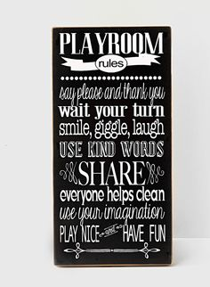 Playroom+Rules+Wood+Sign+Playroom+Decor+Child's+by+vinylcrafts,+$55.00
