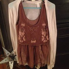 Gorgeous F21 top Beautiful pinkish tank with sequin embellishments and lace details; Cardigan not for sell! Forever 21 Tops Blouses