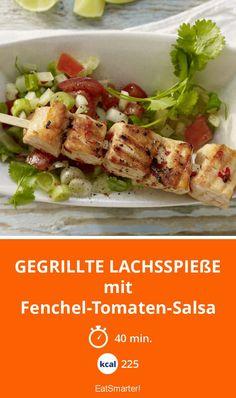 Gegrillte Lachsspieße - mit Fenchel-Tomaten-Salsa - smarter - Kalorien: 225 Kcal - Zeit: 40 Min. | eatsmarter.de