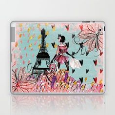 Fashion girl in Paris- Shopping at the Eiffel-Tower on #Society6 Laptop & iPad Skin